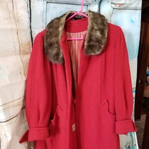 Vintage Juilliard Red 100% Virgin Wool Fur Coat